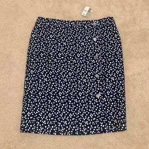 NWT Talbots Faux Wrap Navy Dotted Skirt Size 12